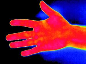dłoń przed testem